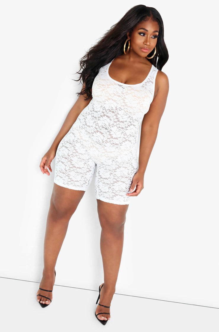 White Lace Tank Jumper Plus Sizes