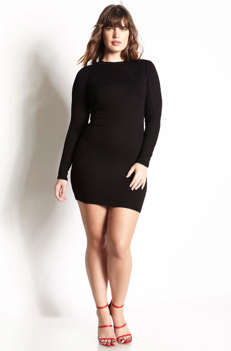 Black Ribbed Bodycon Mini Dress plus sizes