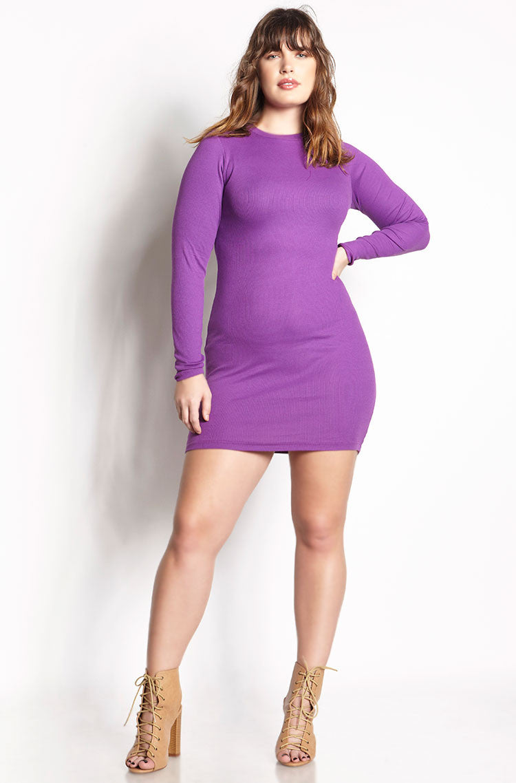 Purple Ribbed Bodycon Mini Dress plus sizes