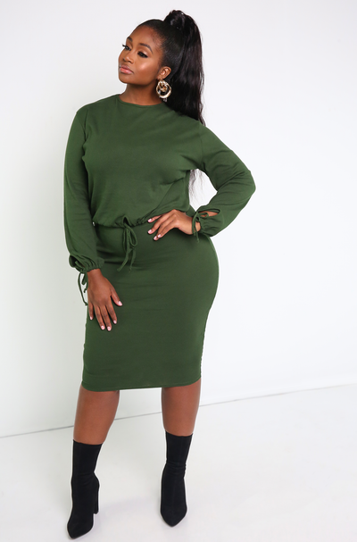 Hunter Green Midi Skirt Plus Sizes