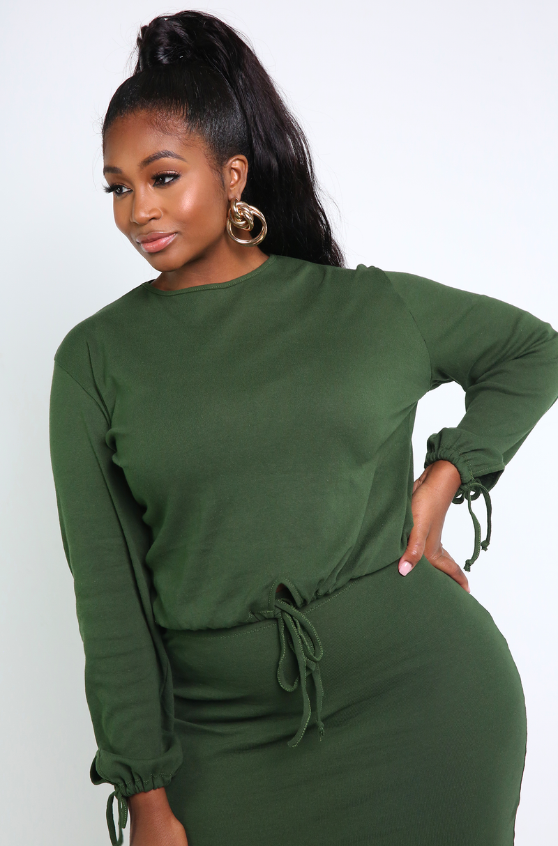 Hunter Green Long Sleeve Top Plus Sizes
