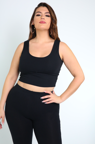 Black Tank Crop Top Plus Sizes