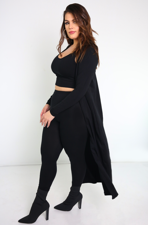 Black Long Sleeve Cardigan Plus Sizes
