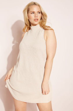 Taupe Ribbed Sleeveless Dress plus sizes