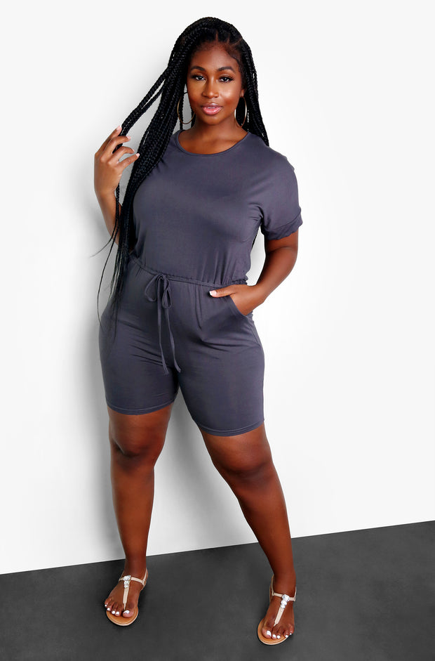 Dark Gray Tie Front Short Jumper Plus Sizes