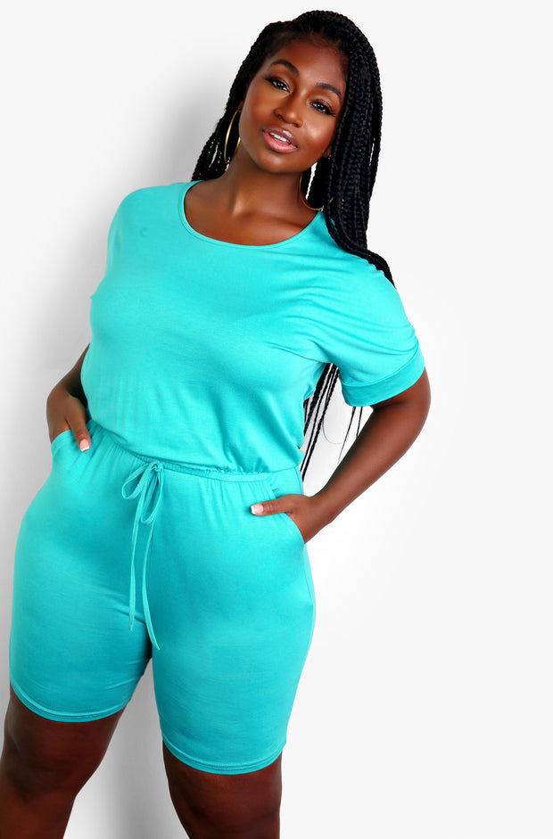 Seafoam Green Tie Front Short Jumper Plus Sizes