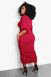 Burgundy Twist Front Cut-Out Plus Size Mini Dress