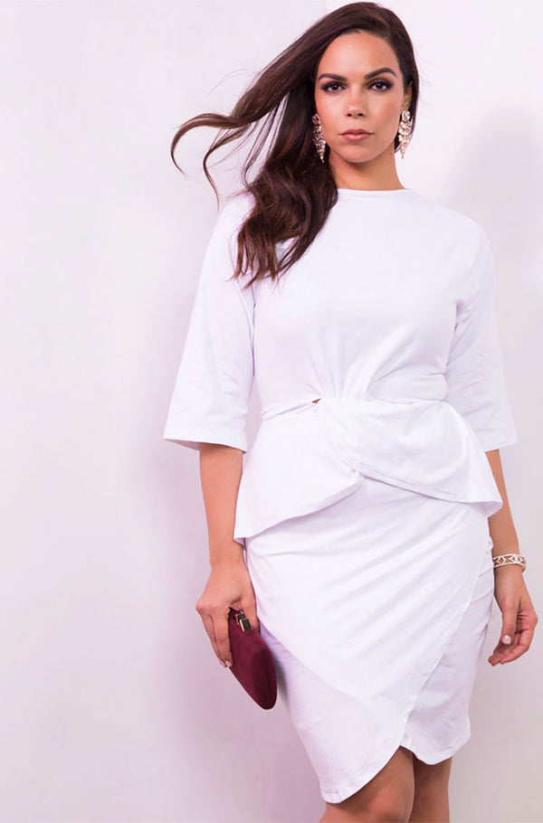White Knotted Knee Bodycon Length Mini Dress plus sizes