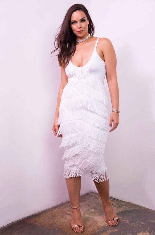 White Fringe Bodycon Midi Dress plus sizes