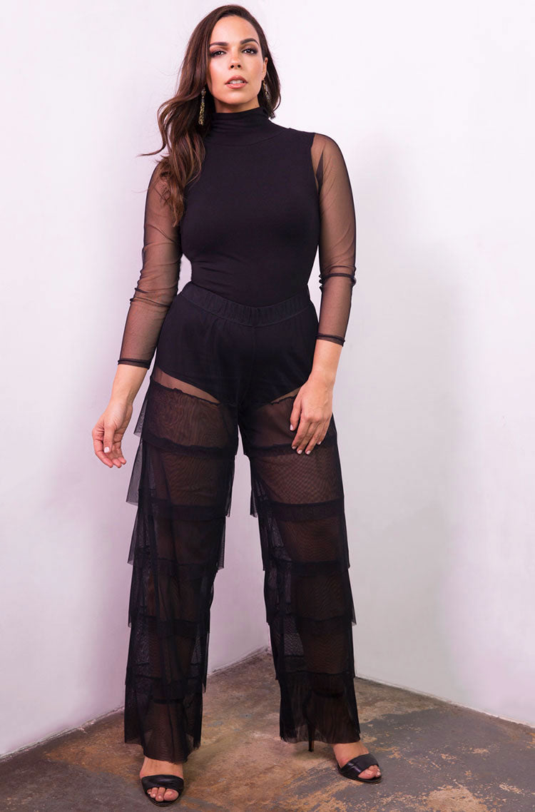 Black Layered Mesh Pants Plus Sizes