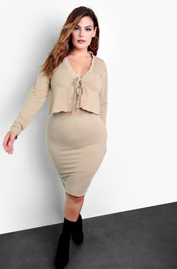Beige Ruffled Tie Front Cardigan & Bodycon Mini Skirt Set Plus Sizes