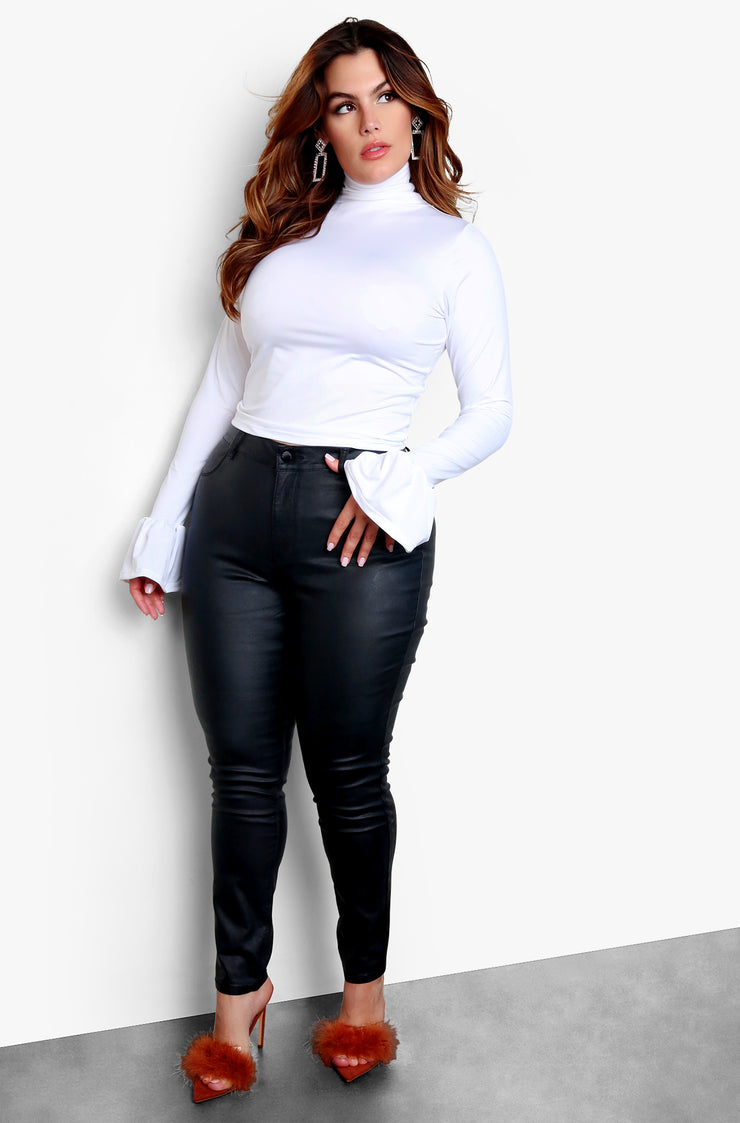 White Plus Size Flared Long Sleeve Top