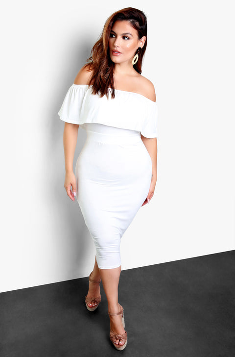 White Over The Shoulder Bodycon Midi Dress Plus Sizes