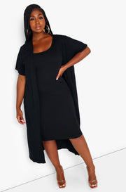 Black Ribbed Short Sleeve Cardigan Plus Sizes