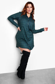 "Rebdolls ""Check Ya Later"" Long Sleeve Collared Button Up Mini Dress - Green"