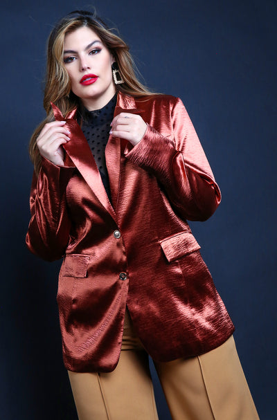 Maroon Blazer Plus Sizes Button Down Satin Blazer