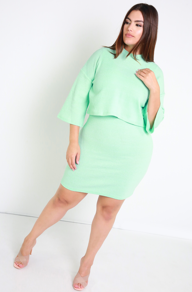 Mint Ribbed Oversized Sweater Plus Sizes