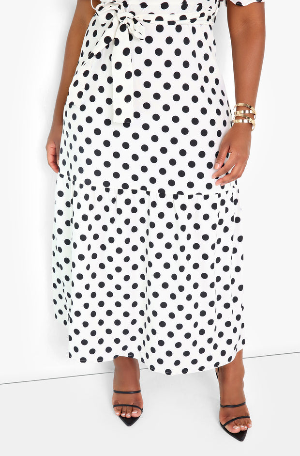 White Polka Dot V-Neck Maxi Dress Plus Sizes