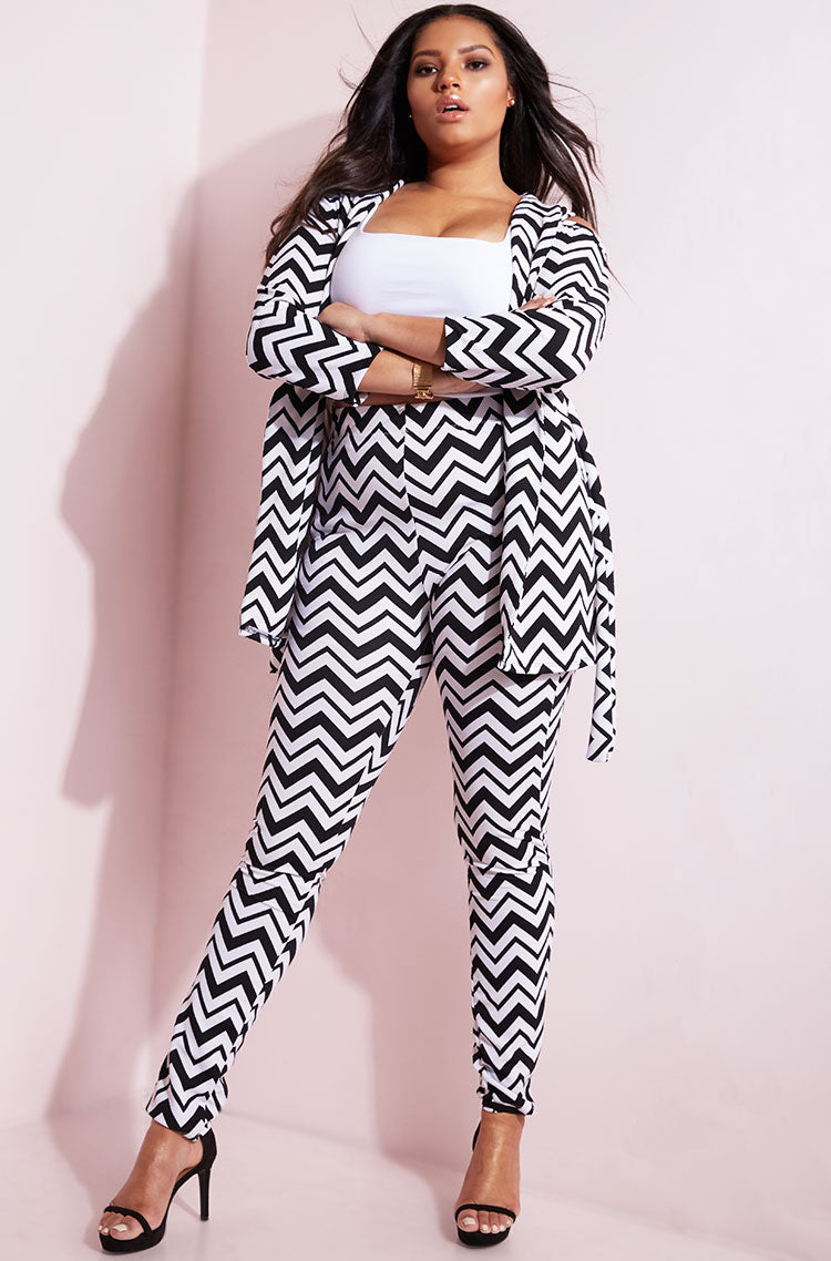 Black Chevron Cold Shoulder Jacket plus sizes