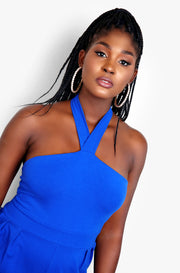 Royal Blue Halter Jumpsuit Plus Sizes