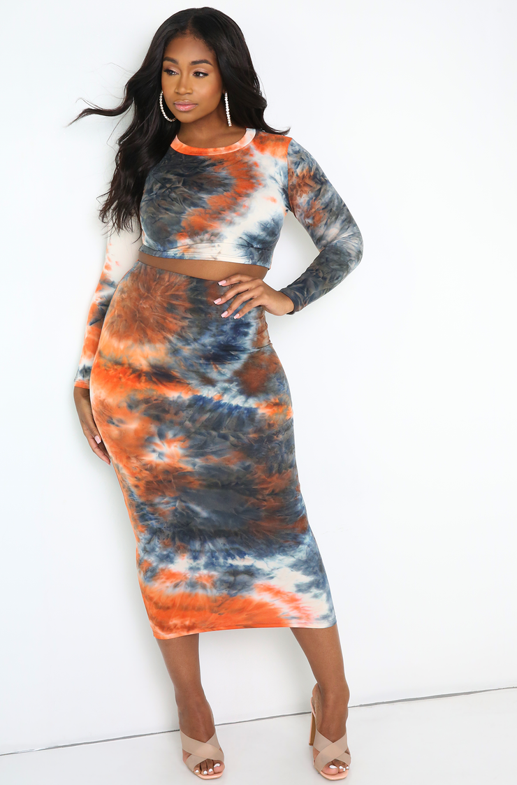 Orange Long Sleeve Tie Dye Crop Top Plus Sizes