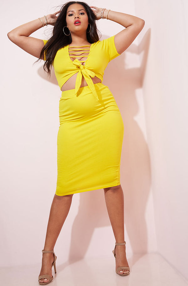 Yellow Bodycon Midi Skirt plus sizes