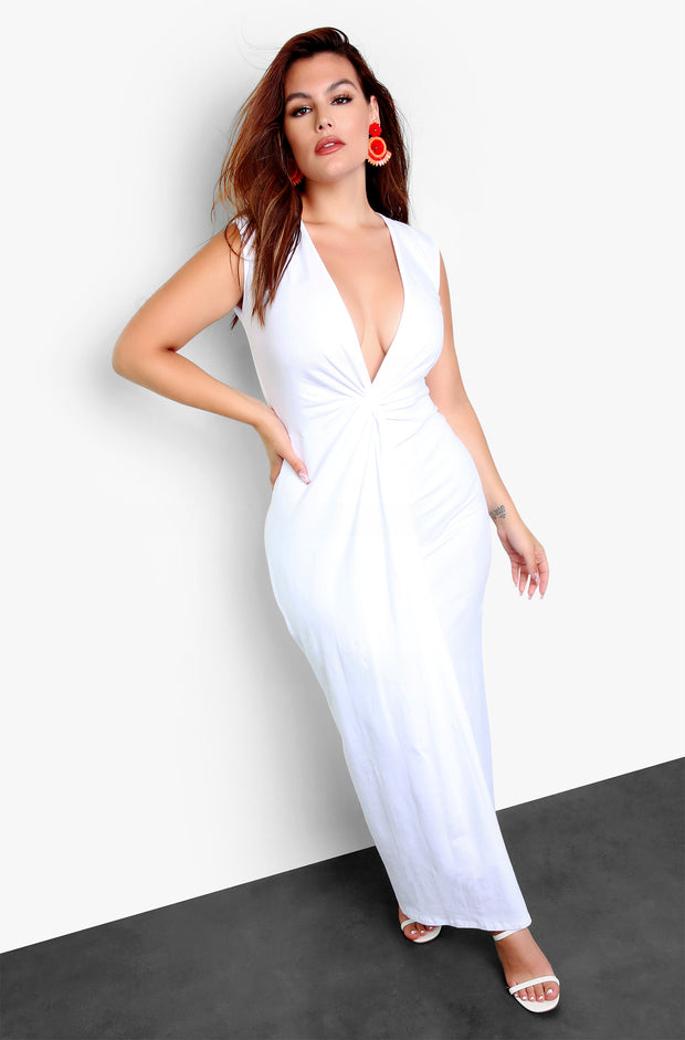 White Plunge Knotted Maxi Dress Plus Sizes