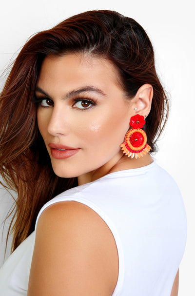 Red Flower Drop Earrings