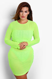 Lime Green Mesh Crew Neck Cover Up Mini Dress Plus Sizes