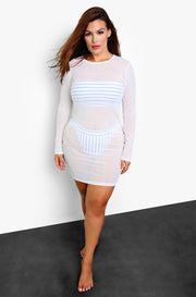 White Mesh Crew Neck Cover Up Mini Dress Plus Sizes