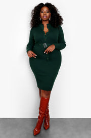 Green Collared Button Up Long Sleeve Dress Plus Sizes