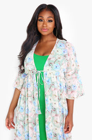 Light Blue Floral Maxi Kimono Plus Sizes