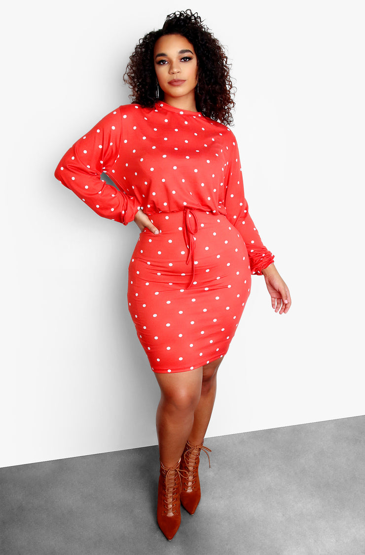 Peach Polka Dot Long Sleeve Tie Front Mini Dress Plus Sizes