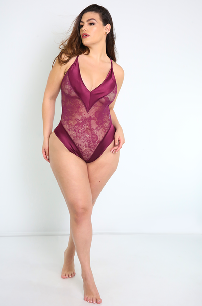 Purple Lace Bodysuit Plus Sizes