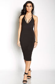 Black Caged Bust Bodycon Midi Dress plus sizes
