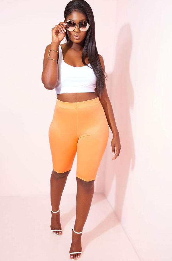Coral Spandex Biker Shorts Plus Sizes