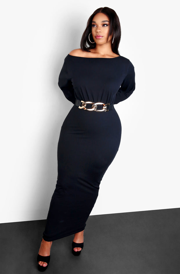 Black Plus Size Over The Shoulder Long Sleeve Maxi Dress