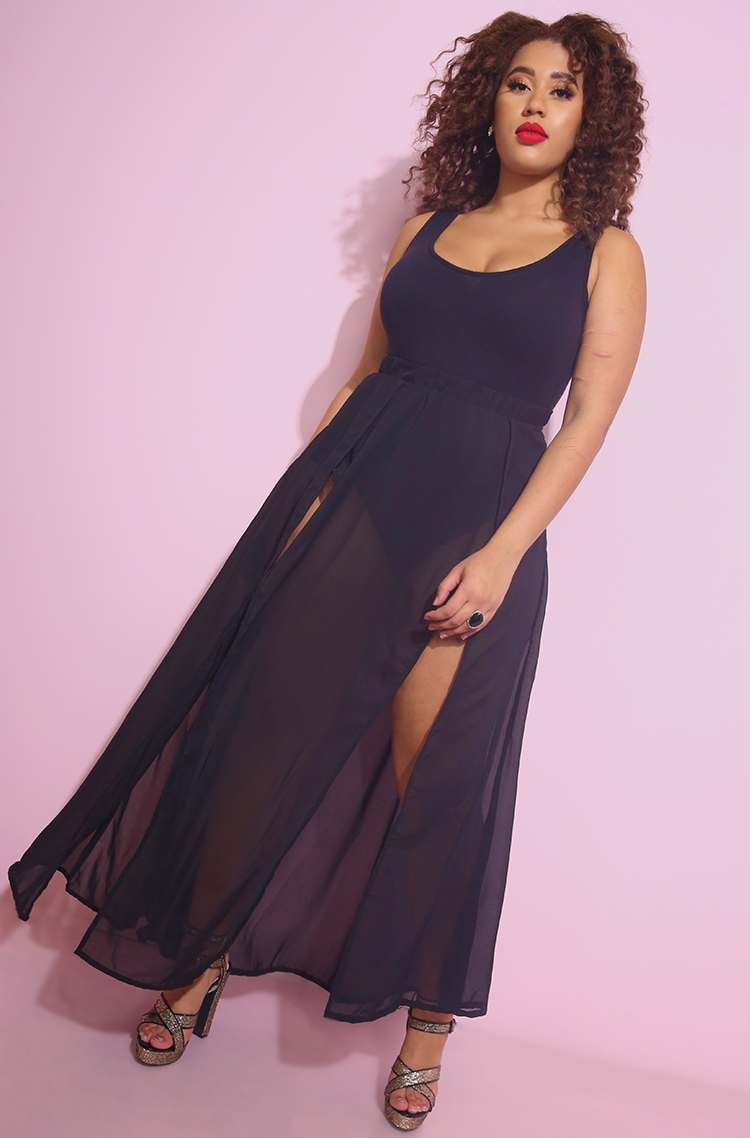 69cee00c49 Plus Size Sheer Skirt Maxi Dress