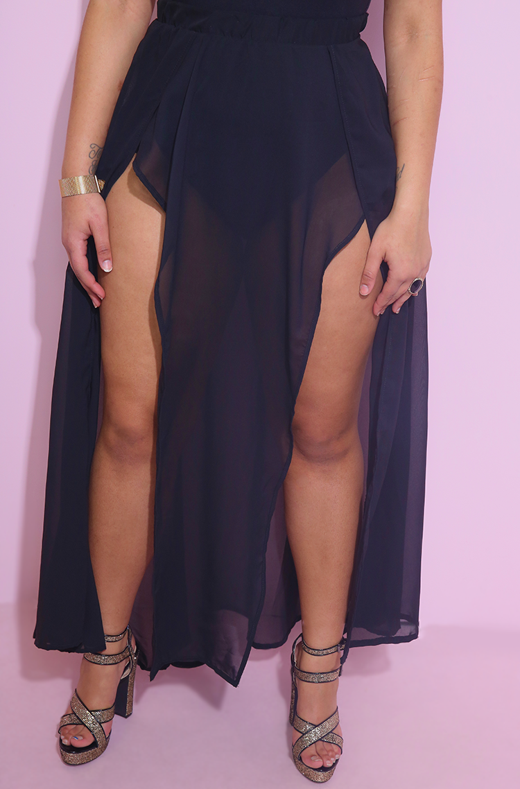Black Sheer Double Slit Maxi Skirt Plus Sizes
