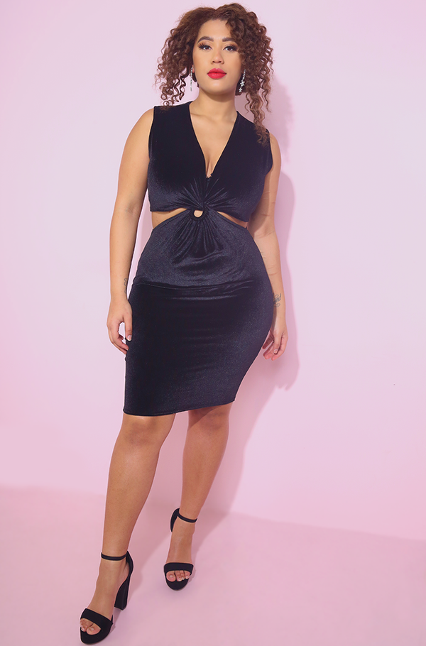 Knotted Velvet Bodycon Mini Dress With bolero plus sizes
