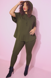 Olive Light Weight High Waisted Leggings plus sizes