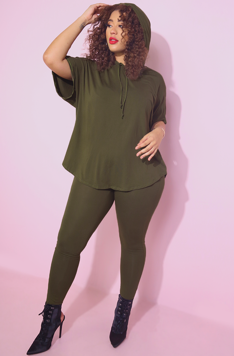 Olive Hooded Relaxed Fit Top Plus Sizes