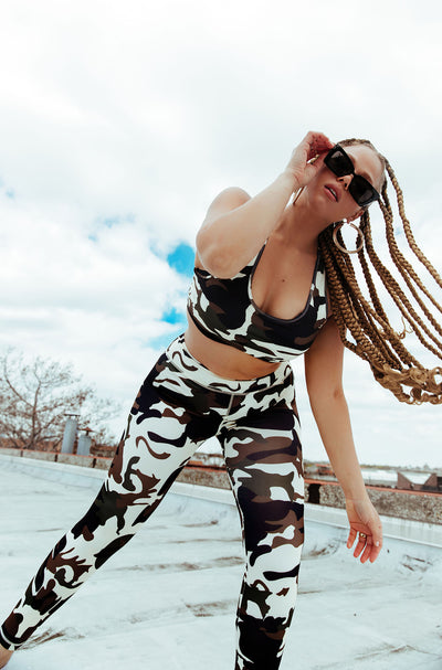 High Waisted Camouflage Sports Leggings Plus Sizes