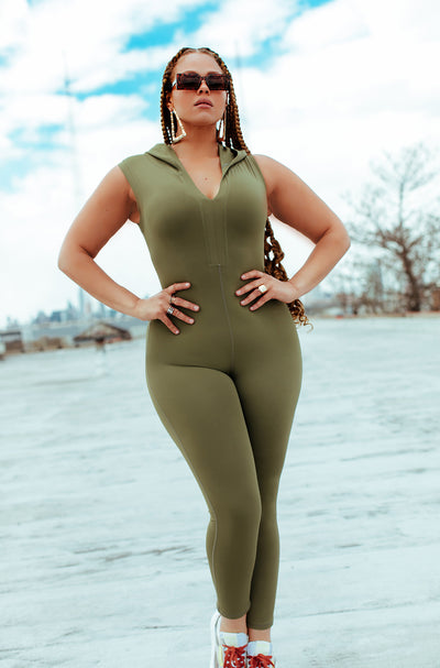 Olive V-Neck Full Length Jumpsuit Plus Sizes