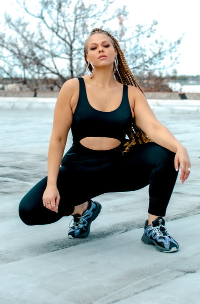 Black Cut Out Sporty Leotard Jumpsuit Plus Sizes