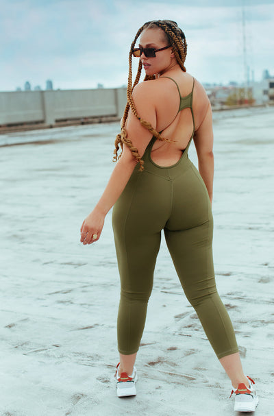 Olive Strappy Full Length Jumpsuit Plus Size