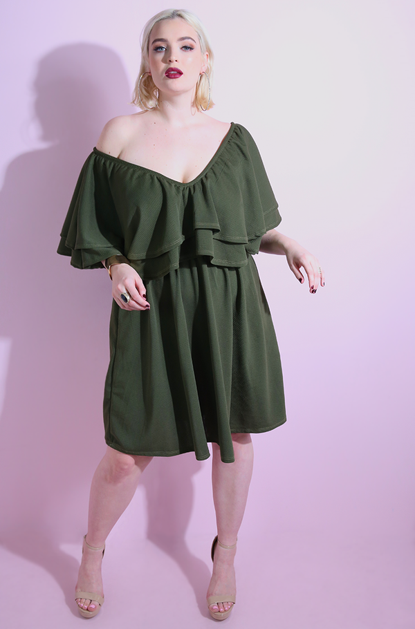 Double Ruffled olive Skater Mini Dress plus sizes