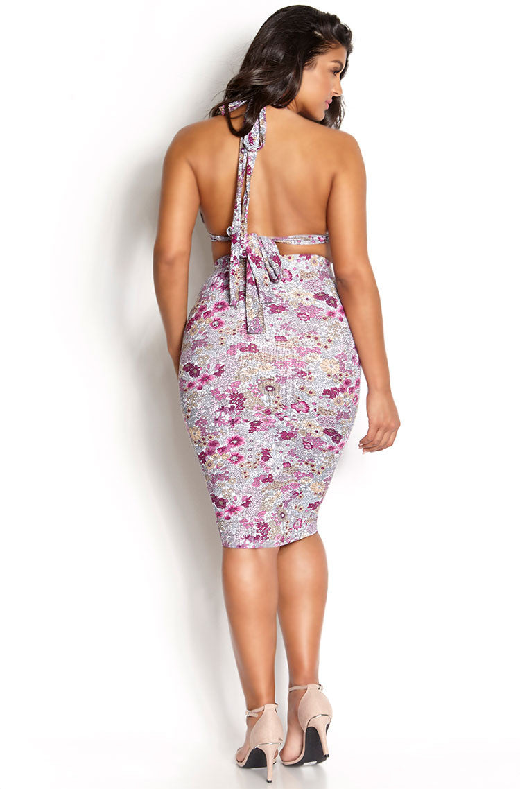 Pink Caged Bust Printed Set plus sizes