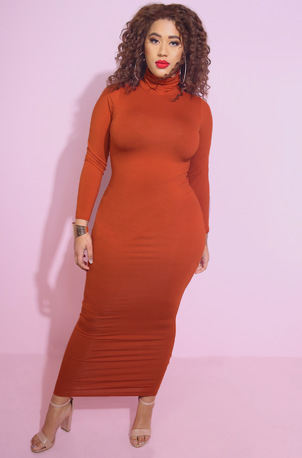 Rust Orange Bodycon Turtleneck Maxi Dress Plus Sizes