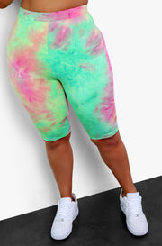 "Rebdolls ""DYE-ing To Have Me"" Tie Dye Bermuda Leggings - Green"